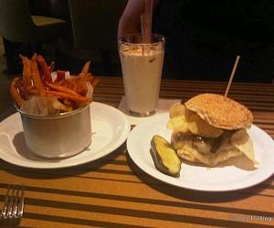 "BBP's Sweet Potato Fries, vanilla ""spiked"" milkshake, and Philly burger"